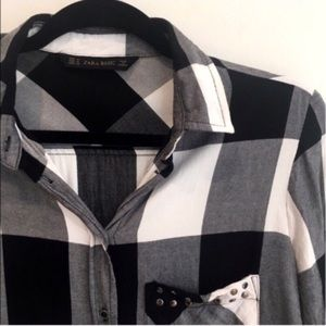 Zara studded plaid button down shirt